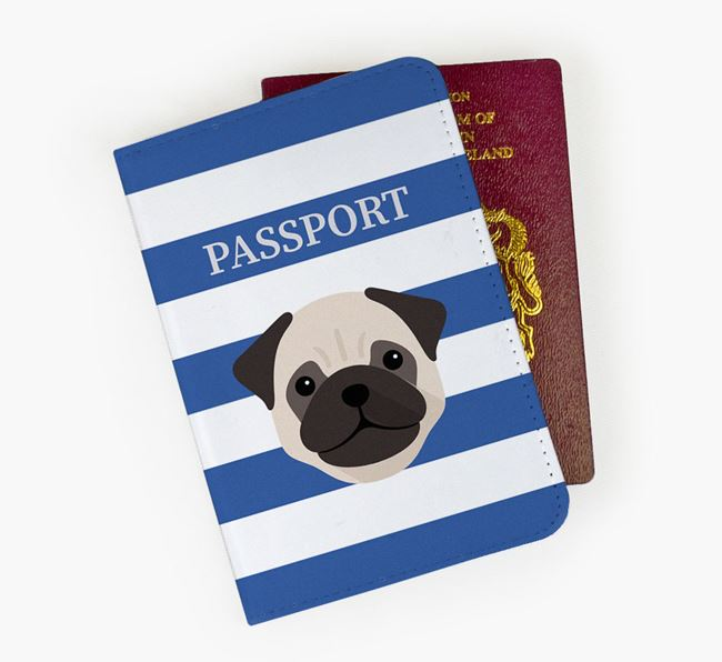 Passport Cover with Dog Icon on Stripes