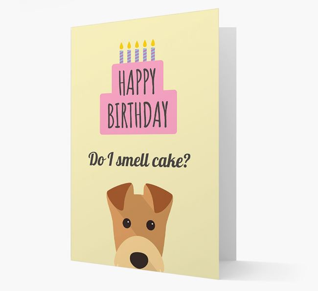 Card 'Do I smell cake?' with Airedale Icon