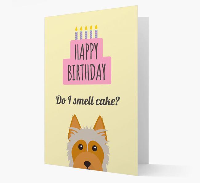 Card 'Do I smell cake?' with Silky Terrier Icon