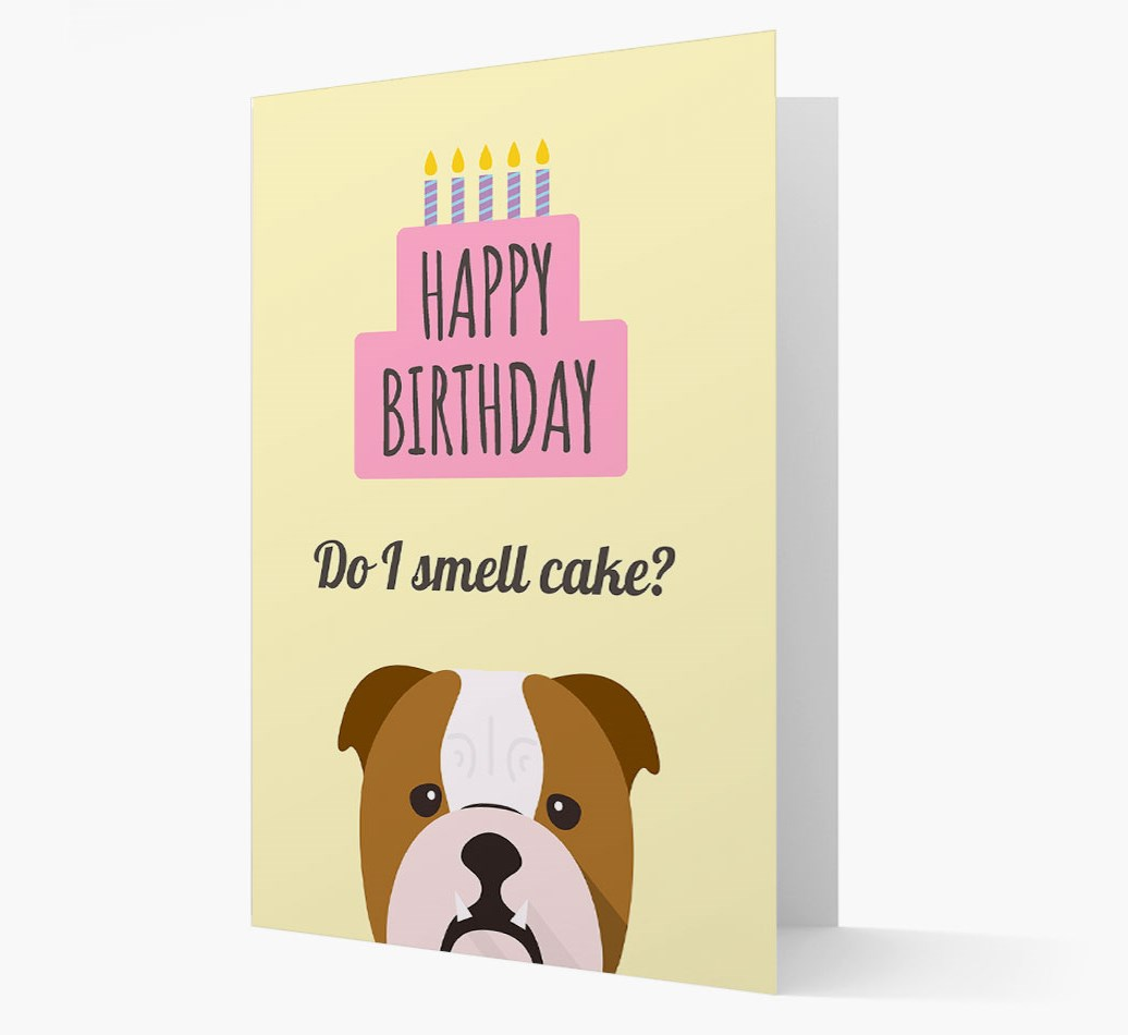 Personalized 'Do I Smell Cake?' Card with English Bulldog Icon