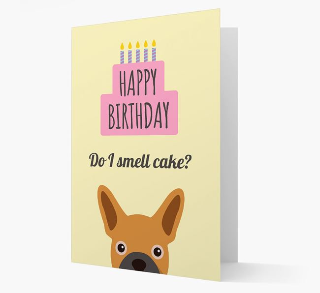 Card 'Do I smell cake?' with Frenchie Icon