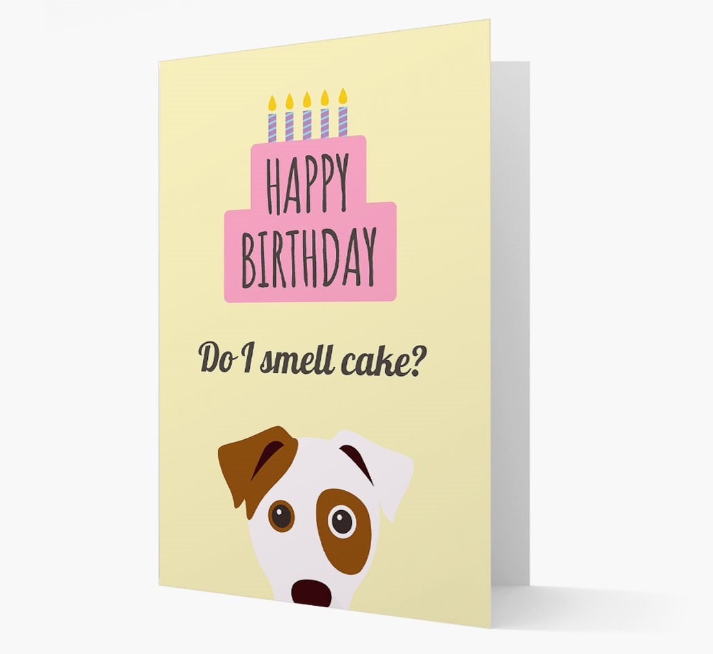 Personalized 'Do I Smell Cake?' Card with Dog Icon