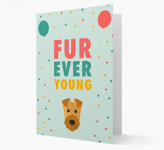 'Fur-Ever Young' Card with Airedale Terrier icon