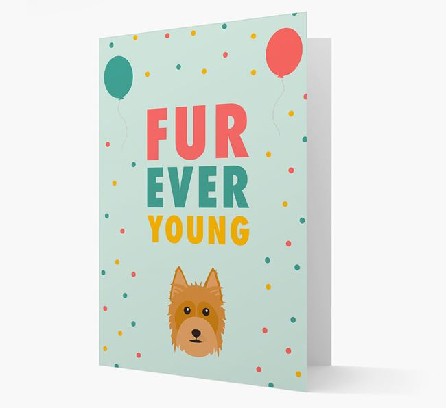 'Fur-Ever Young' Card with Australian Silky Terrier icon