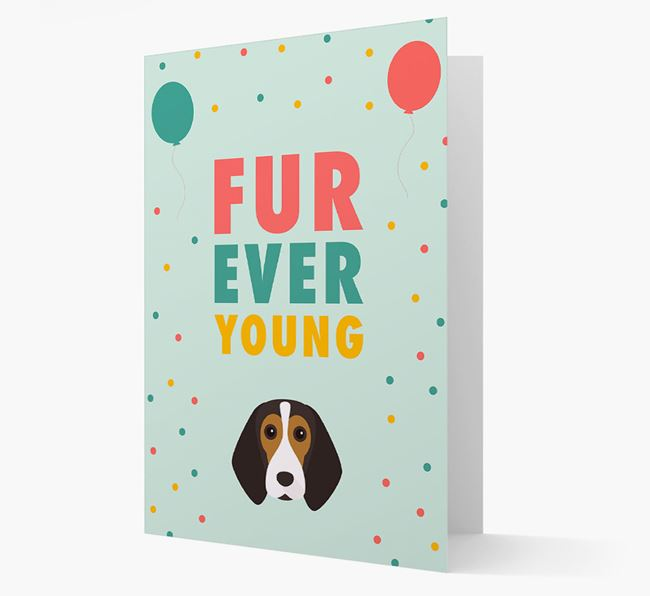 'Fur-Ever Young' Card with Beagle icon