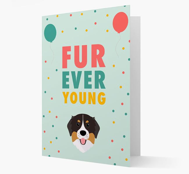 'Fur-Ever Young' Card with Bernese Mountain Dog icon