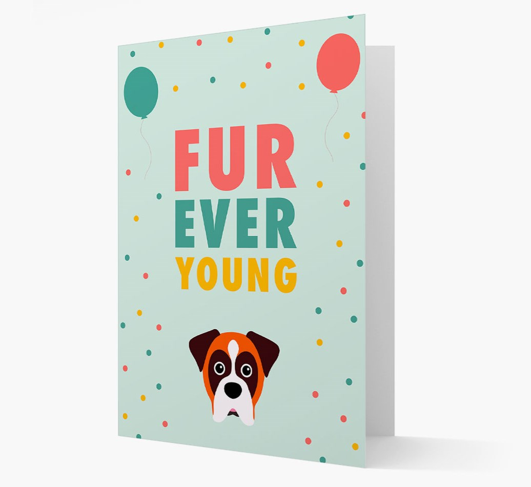 'Fur-Ever Young' Card with Boxer icon