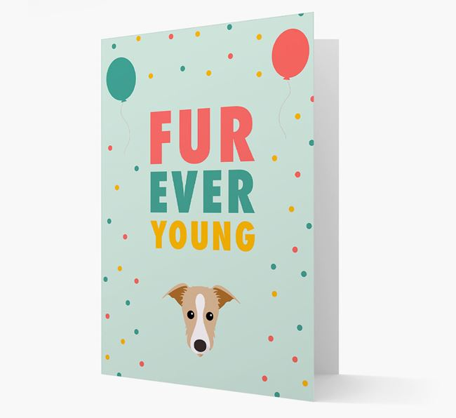 'Fur-Ever Young' Card with Lurcher icon
