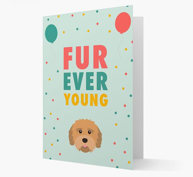 'Fur-Ever Young' Card with Tibetan Terrier icon