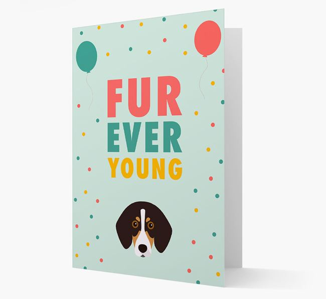 'Fur-Ever Young' Card with Trailhound icon