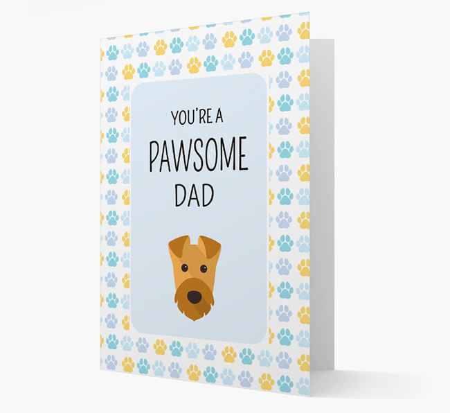 'You're a Pawsome Dad' Card with Airedale Terrier Icon