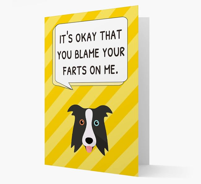 'Blame Your Farts on Me' Card with Border Collie Icon