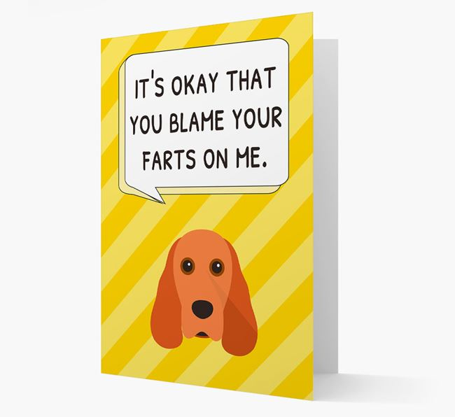'Blame Your Farts on Me' Card with Cocker Spaniel Icon