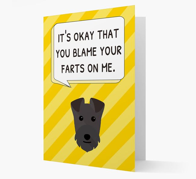 'Blame Your Farts on Me' Card with Lakeland Terrier Icon