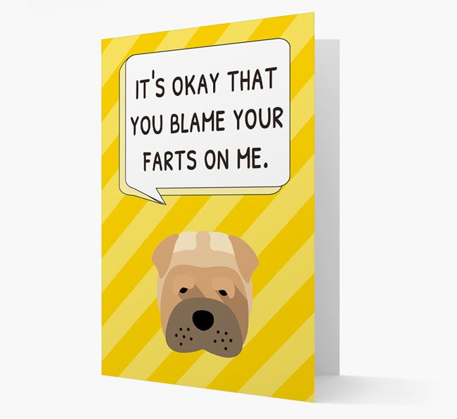 'Blame Your Farts on Me' Card with Dog Icon