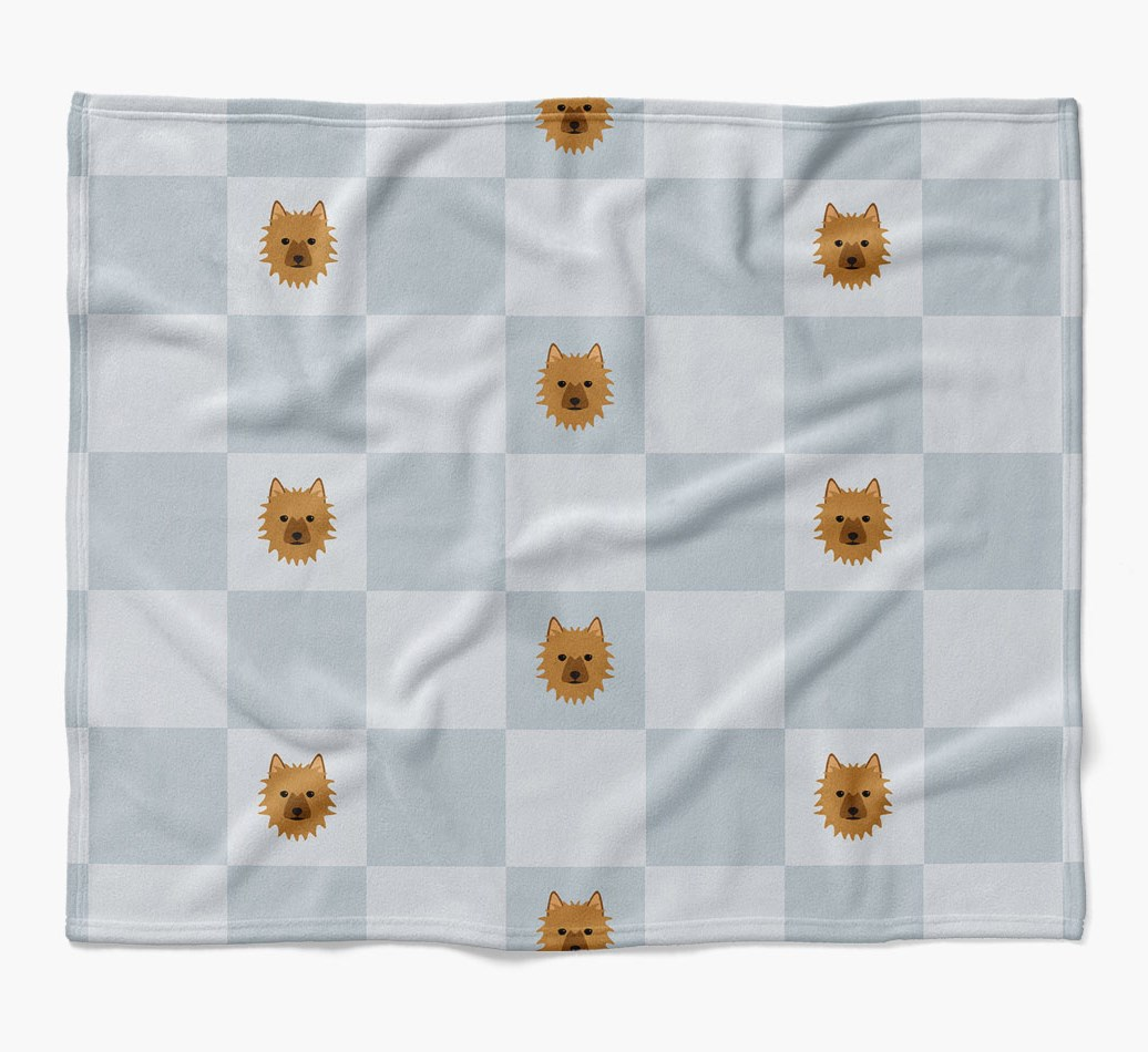 Australian Terrier Dog Blanket with checkerboard pattern in {colour} flat