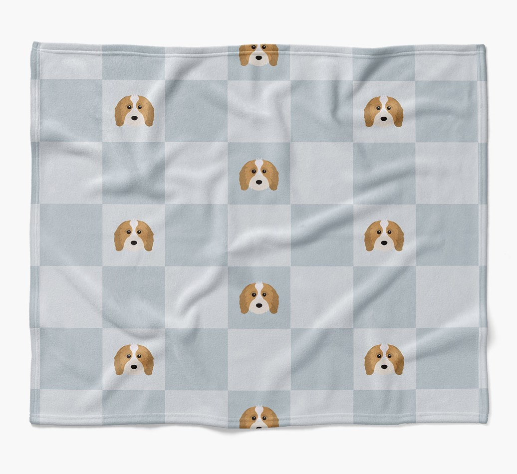 Cavapoo Dog Blanket with checkerboard pattern in {colour} flat