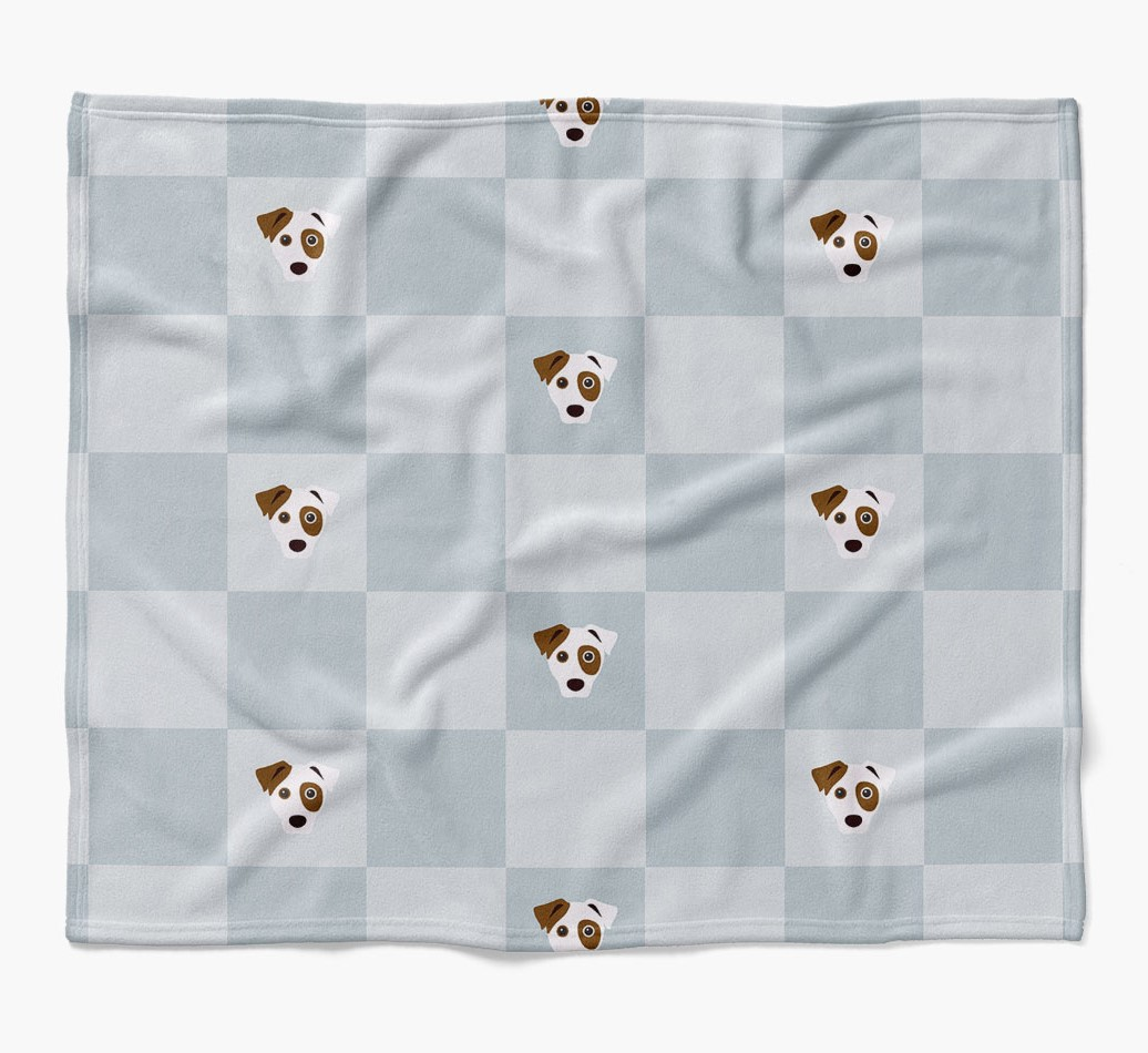 Dog Dog Blanket with checkerboard pattern in {colour} flat