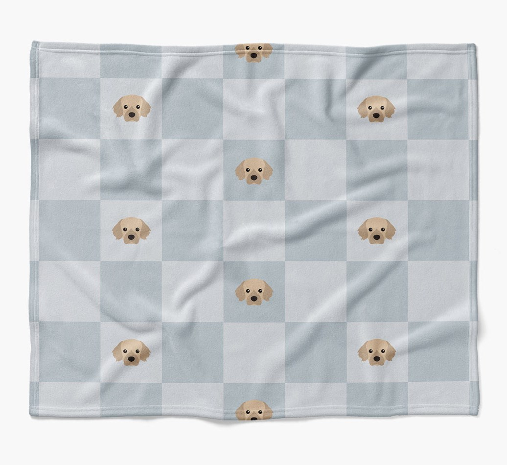 Tibetan Spaniel Dog Blanket with checkerboard pattern in {colour} flat