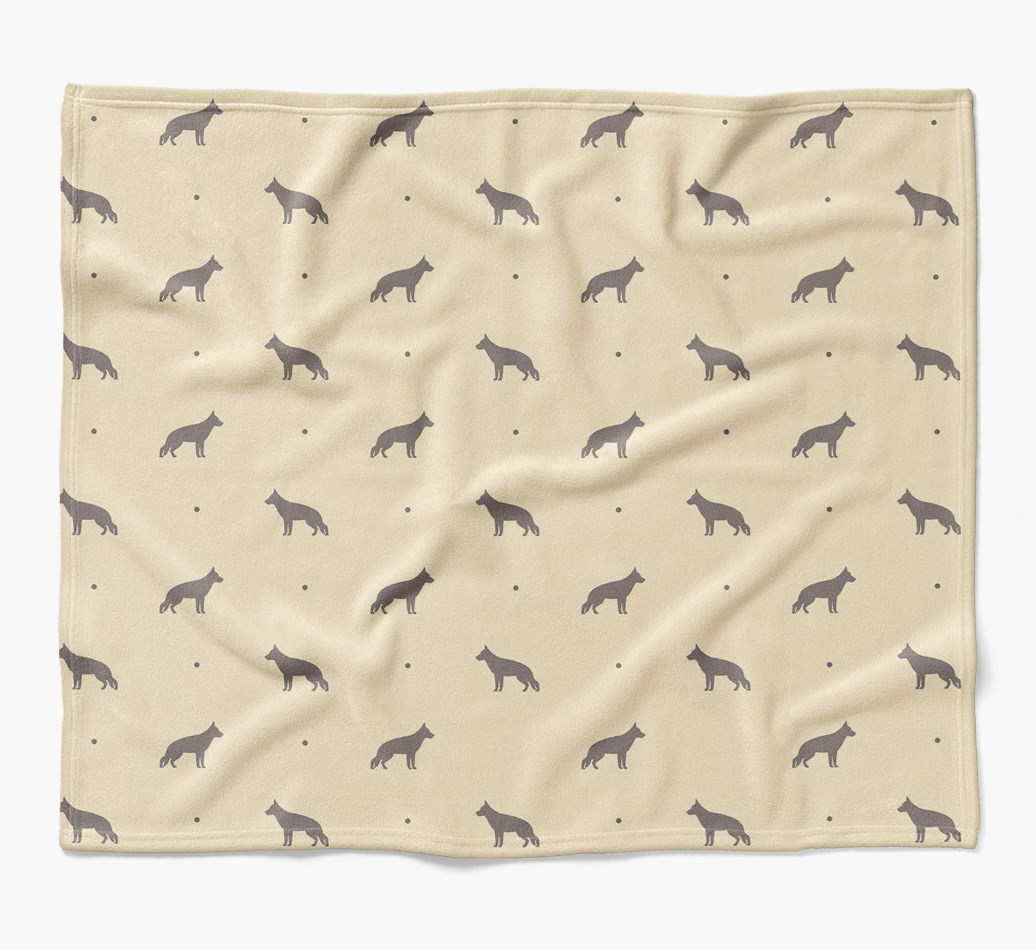 White Swiss Shepherd Dog Dog Blanket with silhouette pattern in {colour} flat