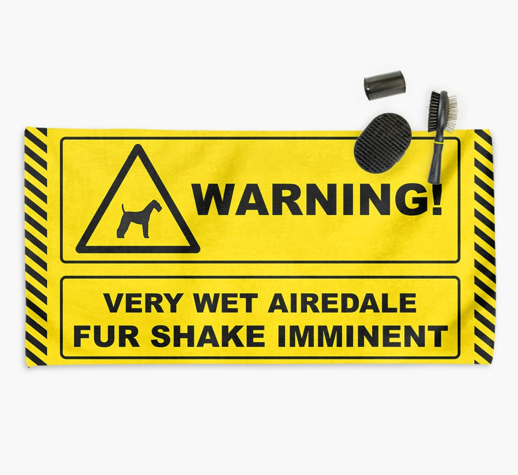 'Fur Shake Imminent' Dog Towel for your Airedale
