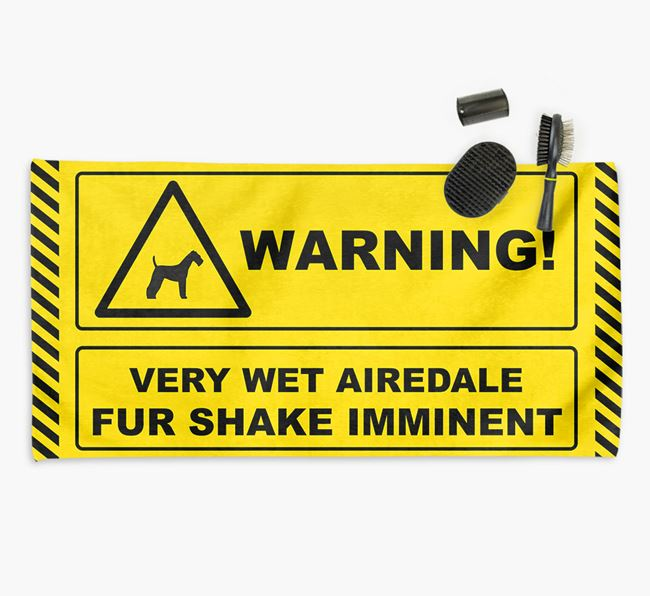 'Fur Shake Imminent' Airedale Towel