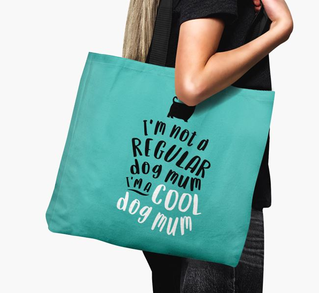 Canvas Bag 'Cool Dog Mum' with Australian Silky Terrier Silhouette