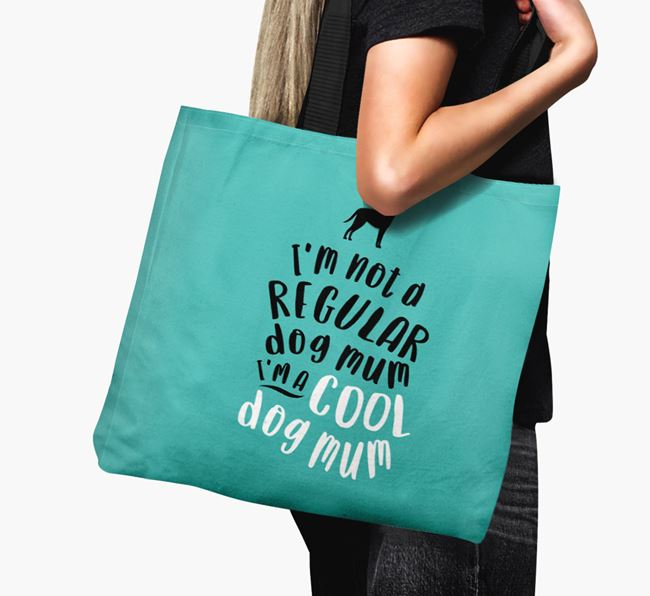 Canvas Bag 'Cool Dog Mum' with Blue Lacy Silhouette