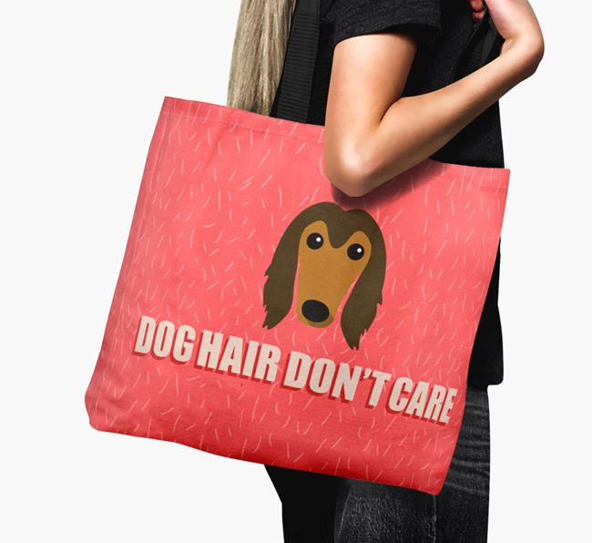 'Dog Hair Don't Care' Canvas Bag with Afghan Hound Icon