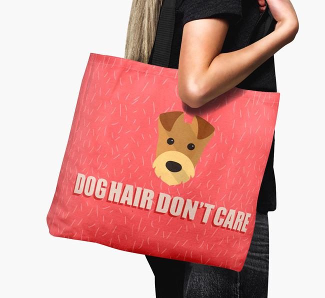 'Dog Hair Don't Care' Canvas Bag with Airedale Terrier Icon