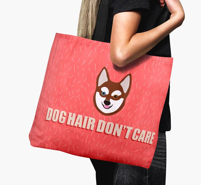 'Dog Hair Don't Care' Canvas Bag with Alaskan Klee Kai Icon