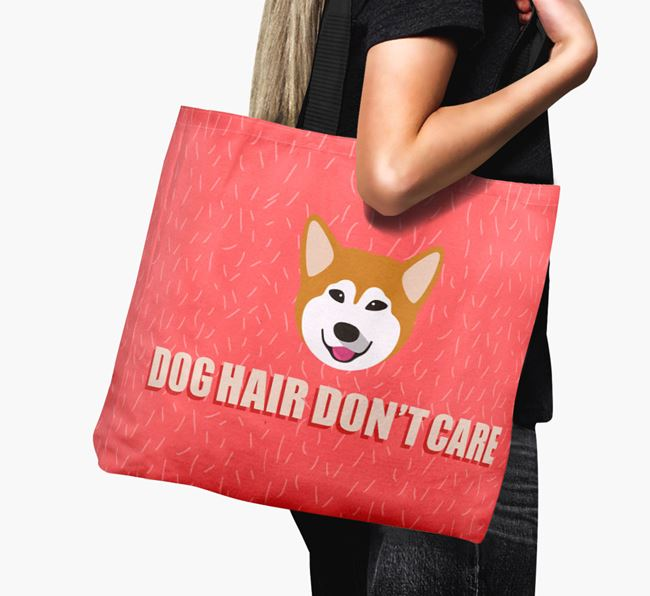 'Dog Hair Don't Care' Canvas Bag with Alaskan Malamute Icon