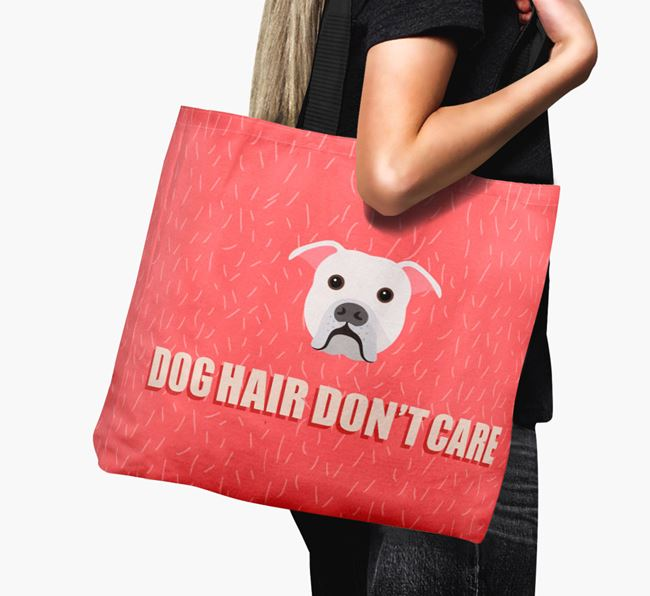 'Dog Hair Don't Care' Canvas Bag with American Bulldog Icon