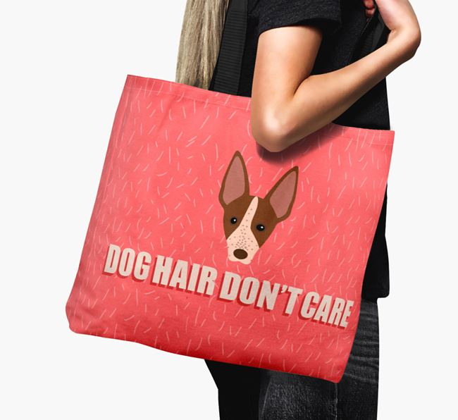 'Dog Hair Don't Care' Canvas Bag with American Hairless Terrier Icon