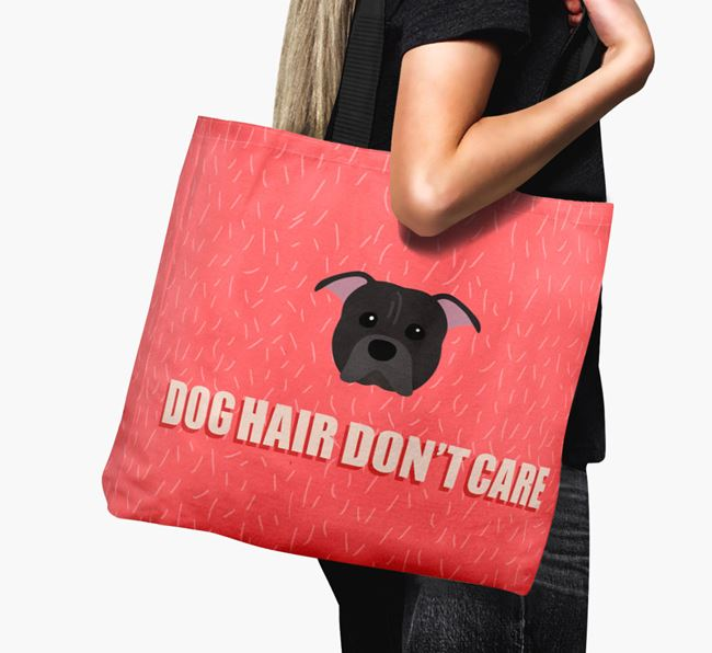 'Dog Hair Don't Care' Canvas Bag with American Pit Bull Terrier Icon