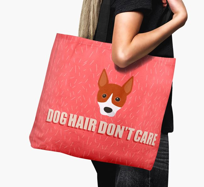'Dog Hair Don't Care' Canvas Bag with Basenji Icon