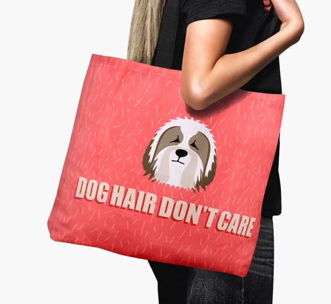'Dog Hair Don't Care' Canvas Bag with Bearded Collie Icon