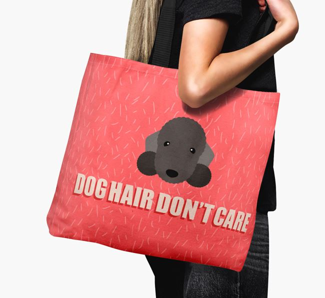 'Dog Hair Don't Care' Canvas Bag with Bedlington Terrier Icon