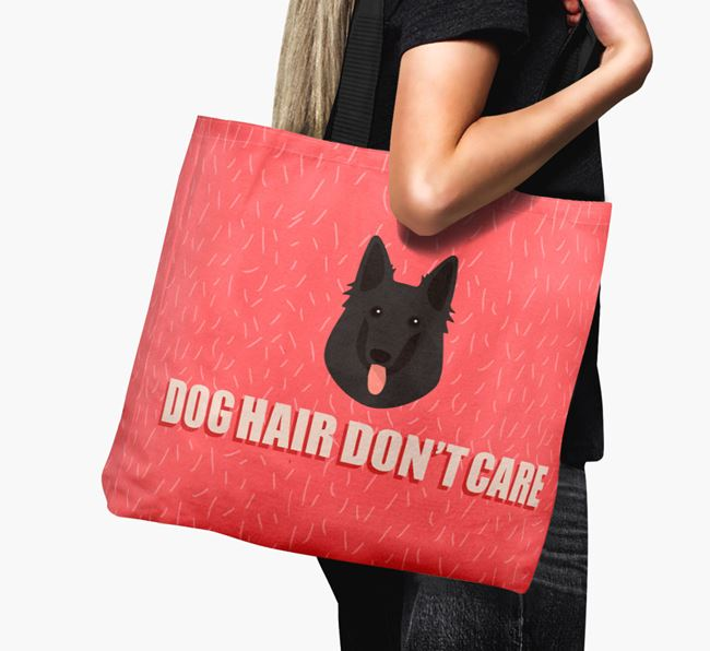'Dog Hair Don't Care' Canvas Bag with Belgian Groenendael Icon