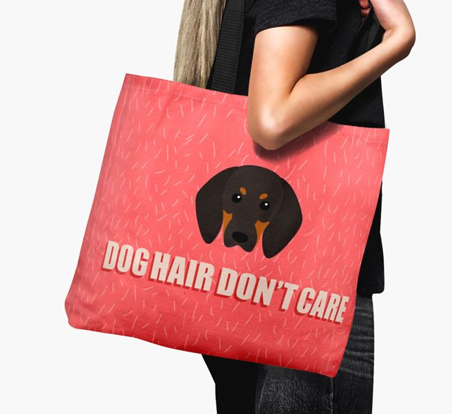 'Dog Hair Don't Care' Canvas Bag with Black and Tan Coonhound Icon