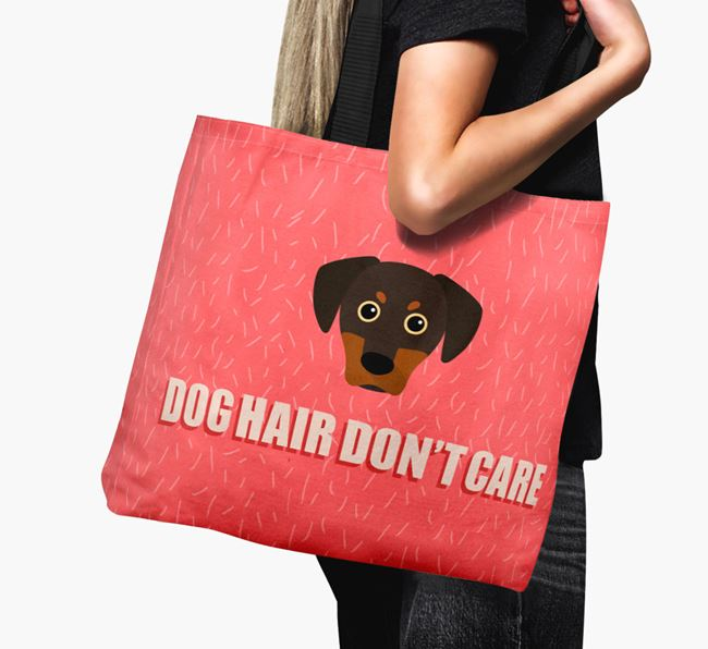 'Dog Hair Don't Care' Canvas Bag with Blue Lacy Icon