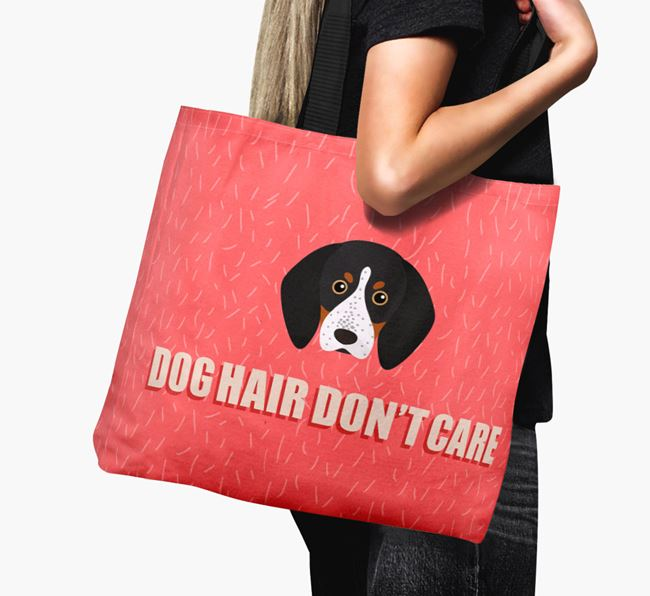'Dog Hair Don't Care' Canvas Bag with Bluetick Coonhound Icon