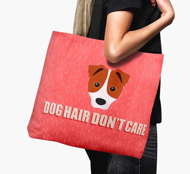 'Dog Hair Don't Care' Canvas Bag with Border Jack Icon