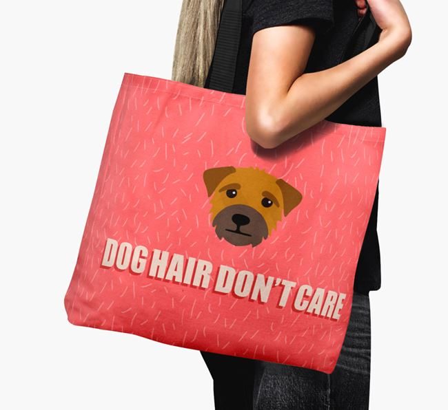 'Dog Hair Don't Care' Canvas Bag with Border Terrier Icon