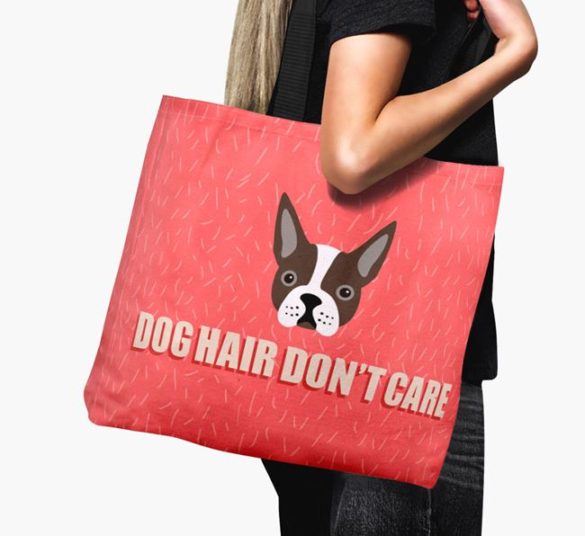 'Dog Hair Don't Care' Canvas Bag with Boston Terrier Icon