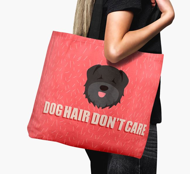 'Dog Hair Don't Care' Canvas Bag with Bouvier Des Flandres Icon