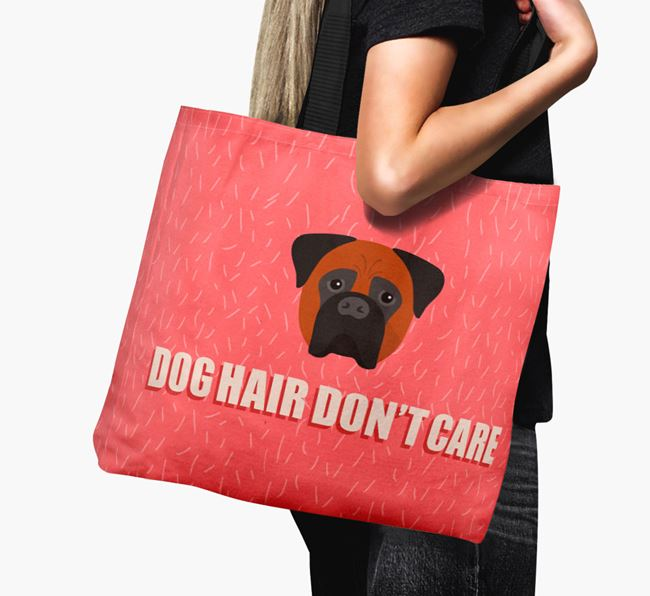 'Dog Hair Don't Care' Canvas Bag with Bullmastiff Icon