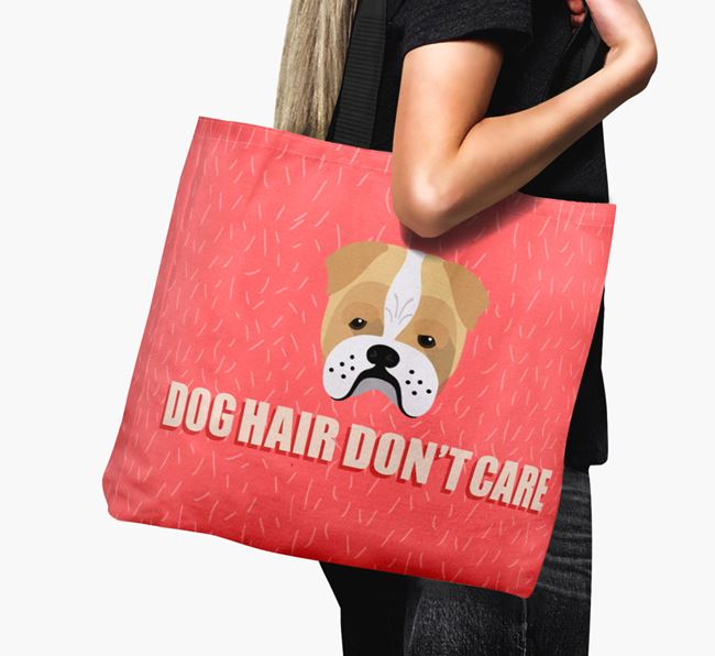 'Dog Hair Don't Care' Canvas Bag with Bull Pei Icon