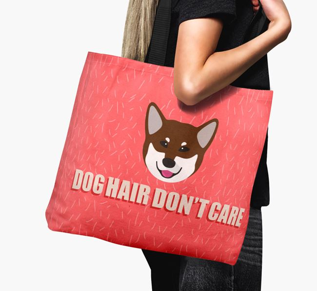 'Dog Hair Don't Care' Canvas Bag with Canadian Eskimo Dog Icon