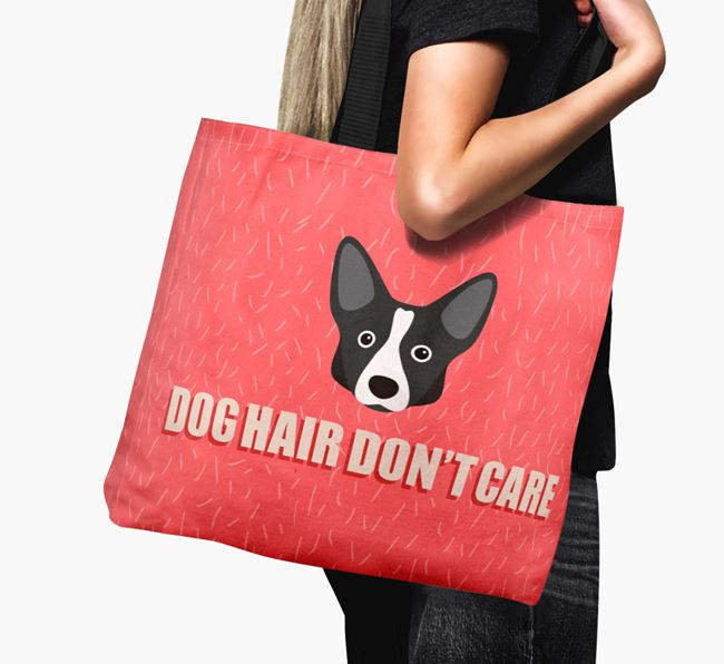 'Dog Hair Don't Care' Canvas Bag with Cardigan Welsh Corgi Icon